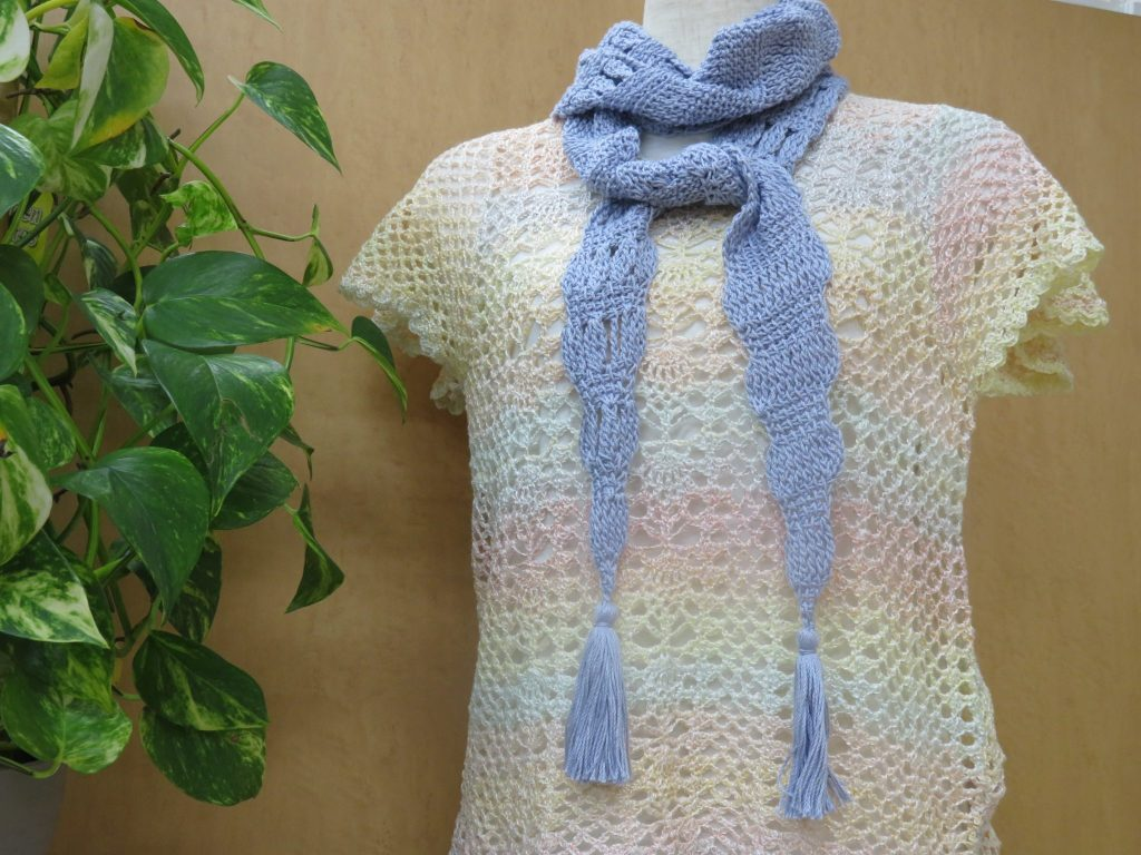 アフガン編みのレーシーストール