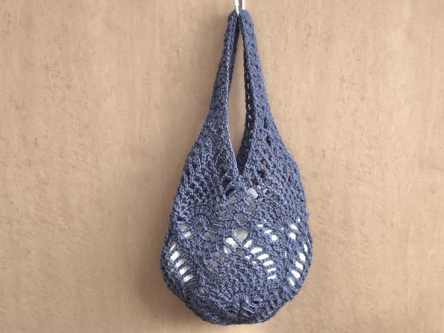 ウオッシャブル毛糸で編む「パイナップル編みのバック」